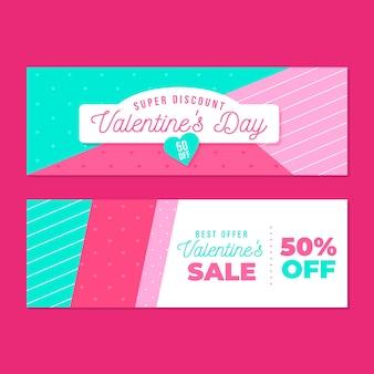 Banner di vendita di san valentino design piatto
