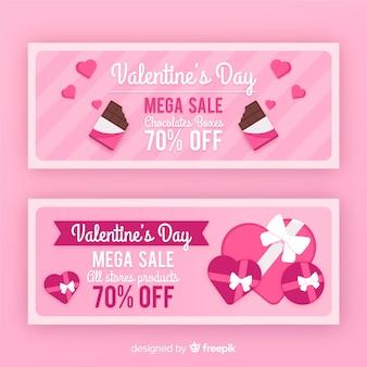 Banner di vendita di san valentino di cioccolato piatto