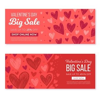 Banner di vendita di san valentino disegnati a mano