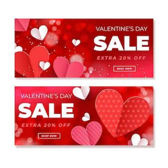 Banner di vendita di san valentino in design piatto