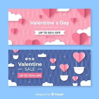 Banner di vendita di san valentino in mongolfiera