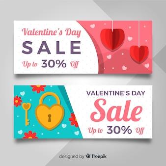 Banner di vendita di san valentino lucchetto piatto
