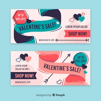 Banner di vendita di san valentino nastro disegnato a mano