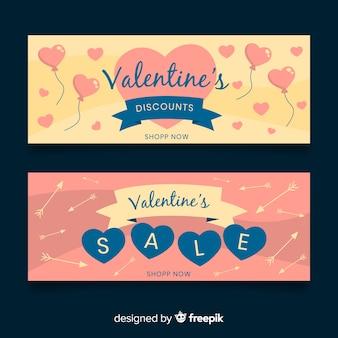 Banner di vendita di san valentino palloncini e frecce