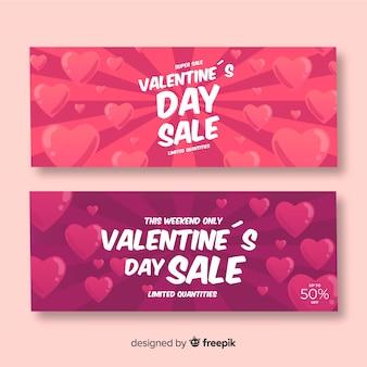 Banner di vendita di san valentino sunburst