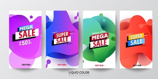 Banner di vendita di sfumatura di sfumatura di gradiente di liquido brillante