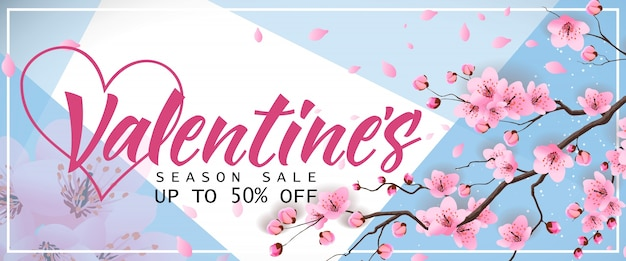 Banner di vendita di stagione di san valentino con sakura