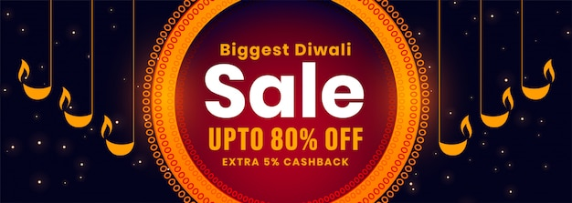 Banner di vendita diwali con design decorativo diya