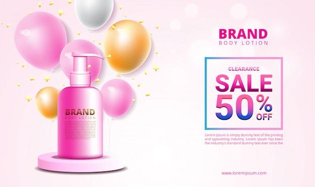 Banner di vendita e promozione per prodotti cosmetici