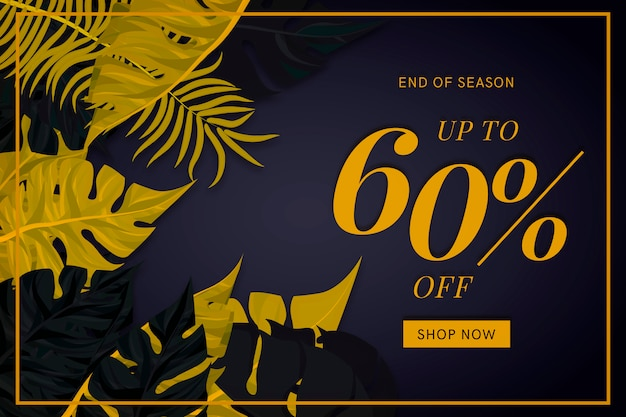 Banner di vendita elegante con foglie tropicali