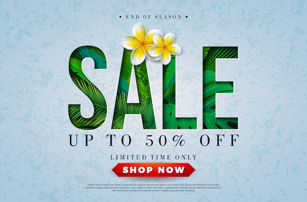 Banner di vendita estate design con foglie di palme tropicali e fiori