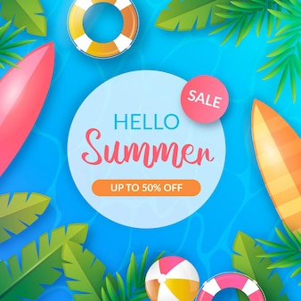 Banner di vendita estate realistica