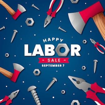 Banner di vendita festa del lavoro realistico