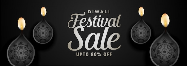 Banner di vendita festival nero per felice diwali