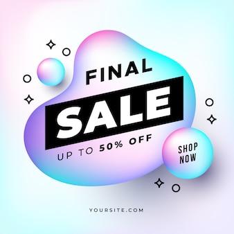 Banner di vendita finale con forme olografiche