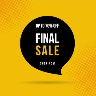 Banner di vendita finale, fino al 70% di sconto ..
