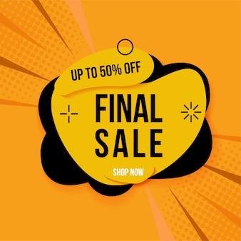 Banner di vendita finale giallo e nero