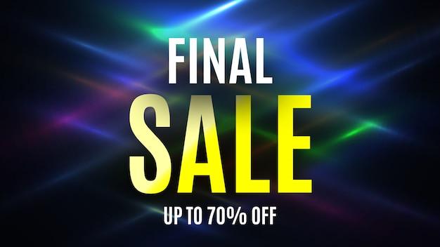 Banner di vendita finale su sfondo colorato incandescente. illustrazione.