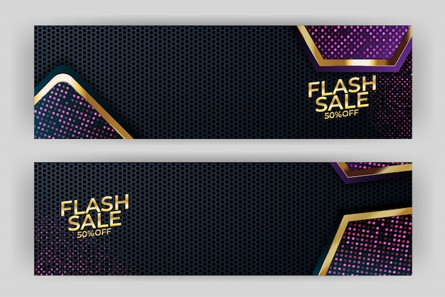 Banner di vendita flash con sfondo oro stile premium