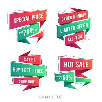 Banner di vendita geometrica moderna e collezione cyber monday