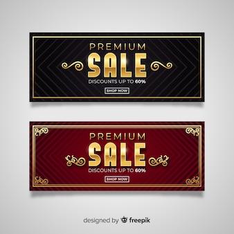Banner di vendita in stile dorato