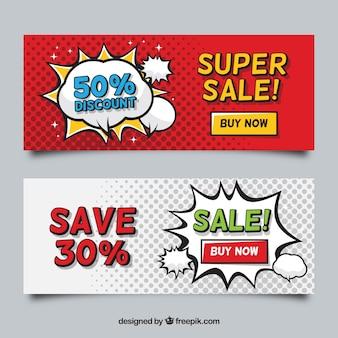 Banner di vendita in stile fumetto