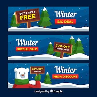 Banner di vendita inverno orso polare