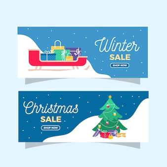 Banner di vendita inverno piatto con scatole regalo e albero di natale