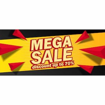 Banner di vendita mega con sfondo giallo e nero