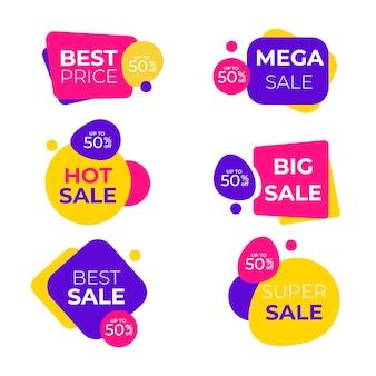 Banner di vendita migliore impostato con forme divertenti