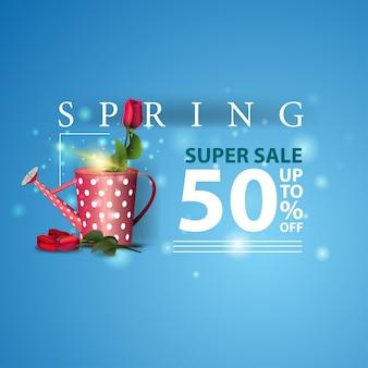 Banner di vendita moderna primavera blu con rosa