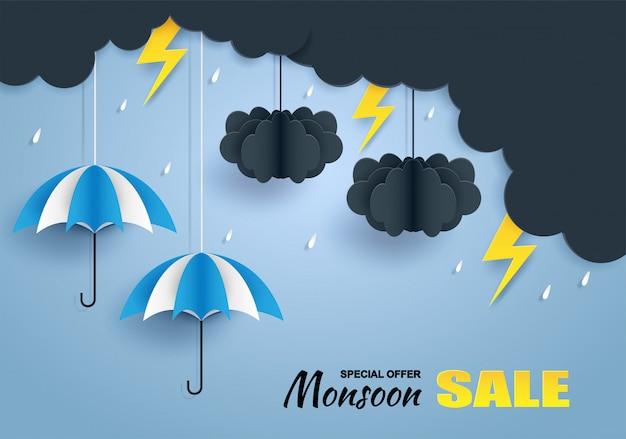 Banner di vendita monsone, stagione delle piogge