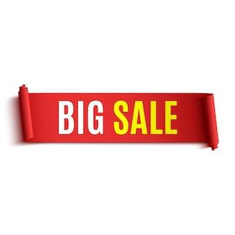 Banner di vendita. nastro rosso realistico. rotolo di carta.