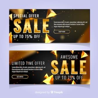 Banner di vendita nero con dettagli dorati