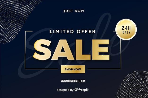 Banner di vendita nero con elementi dorati