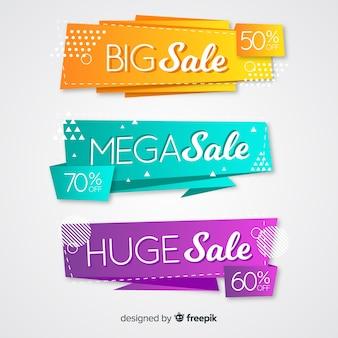 Banner di vendita origami astratti