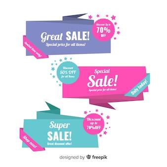 Banner di vendita origami colorati
