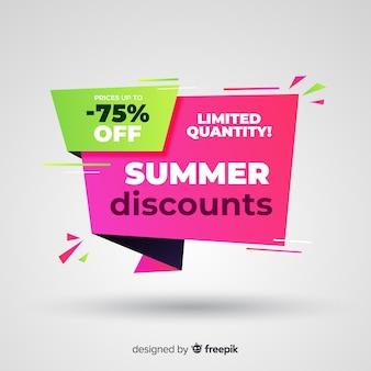 Banner di vendita origami piatto estate