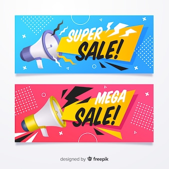 Banner di vendita piatta con oggetti realistici