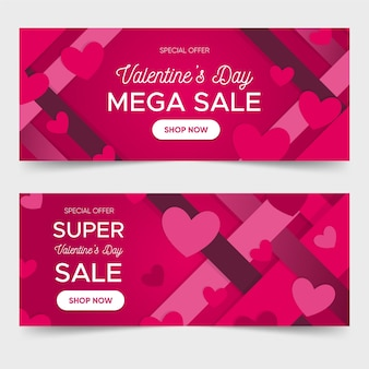 Banner di vendita piatta di san valentino