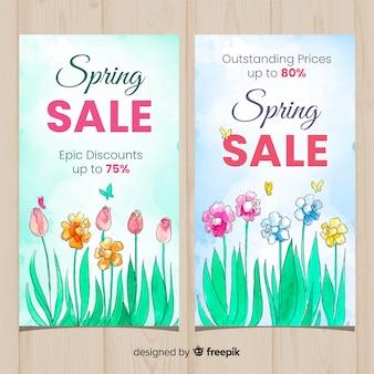 Banner di vendita primavera acquerello