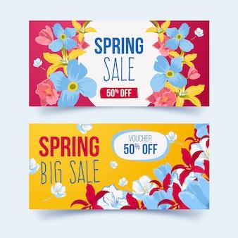 Banner di vendita primavera disegnati a mano