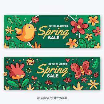 Banner di vendita primavera fiori disegnati a mano