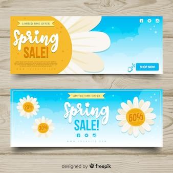 Banner di vendita primavera margherite piatto
