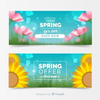 Banner di vendita primavera offuscata