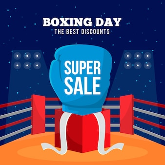 Banner di vendita super giorno di boxe design piatto