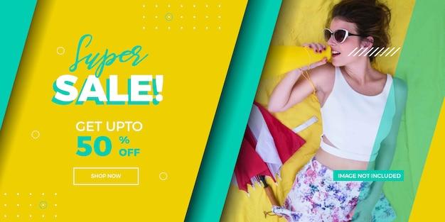 Banner di vendita super moda moderna promozionale con alternativa astratto