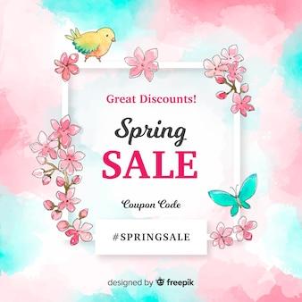 Banner di vendita telaio quadrato primavera acquerello