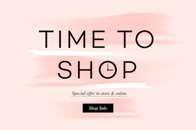 Banner di vendita, tempo per lo shopping, shopping online, e-commerce.