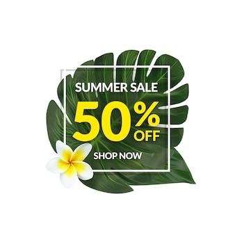 Banner di vendita tropicale